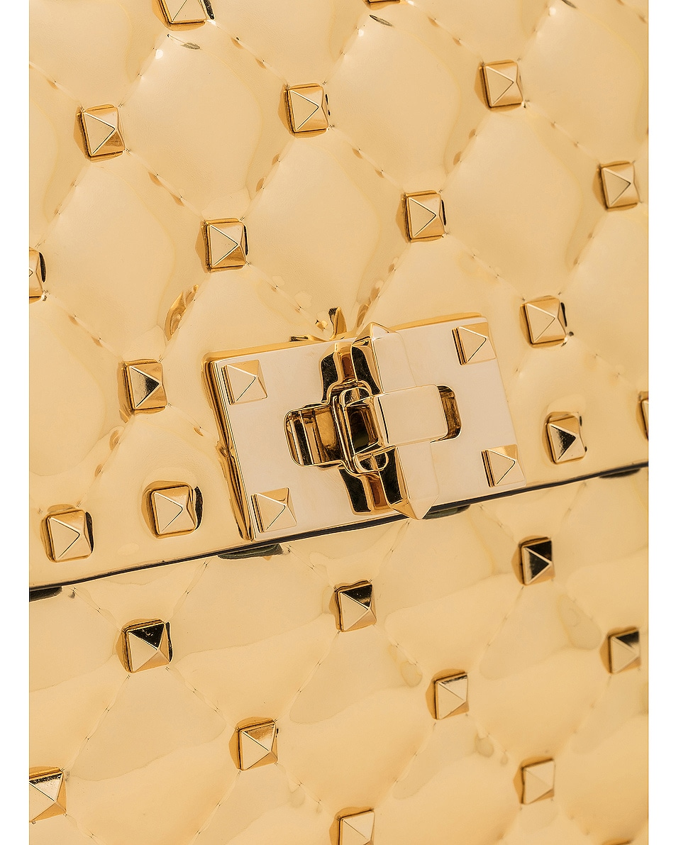 Image 8 of Valentino Medium Metallic Rockstud Spike Shoulder Bag in Gold