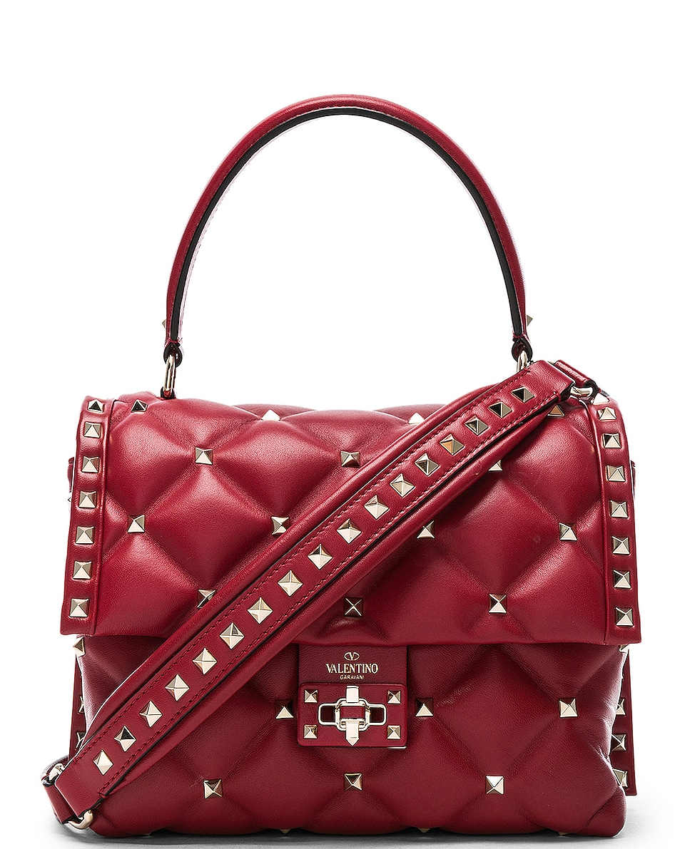 Image 1 of Valentino Candystud Top Handle Bag in Red