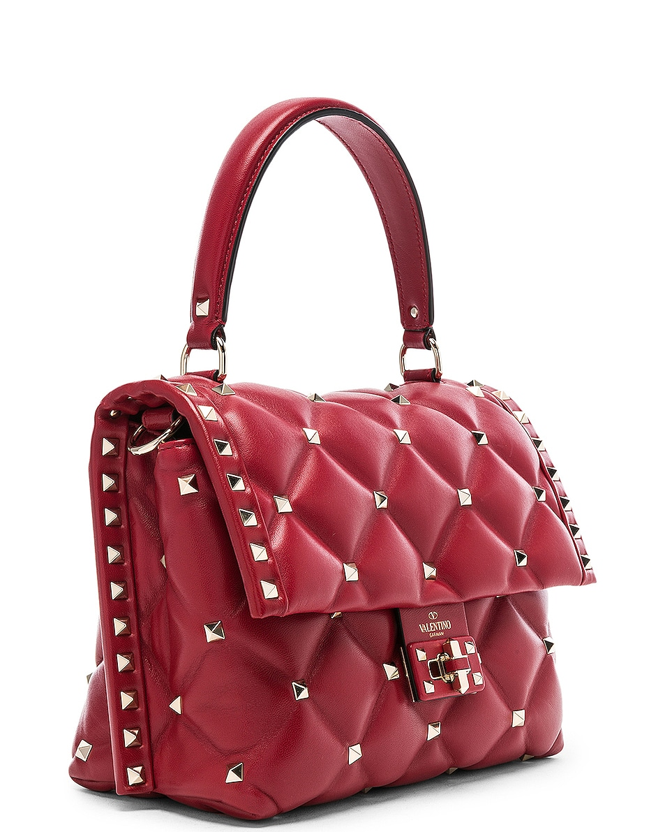 Image 4 of Valentino Candystud Top Handle Bag in Red