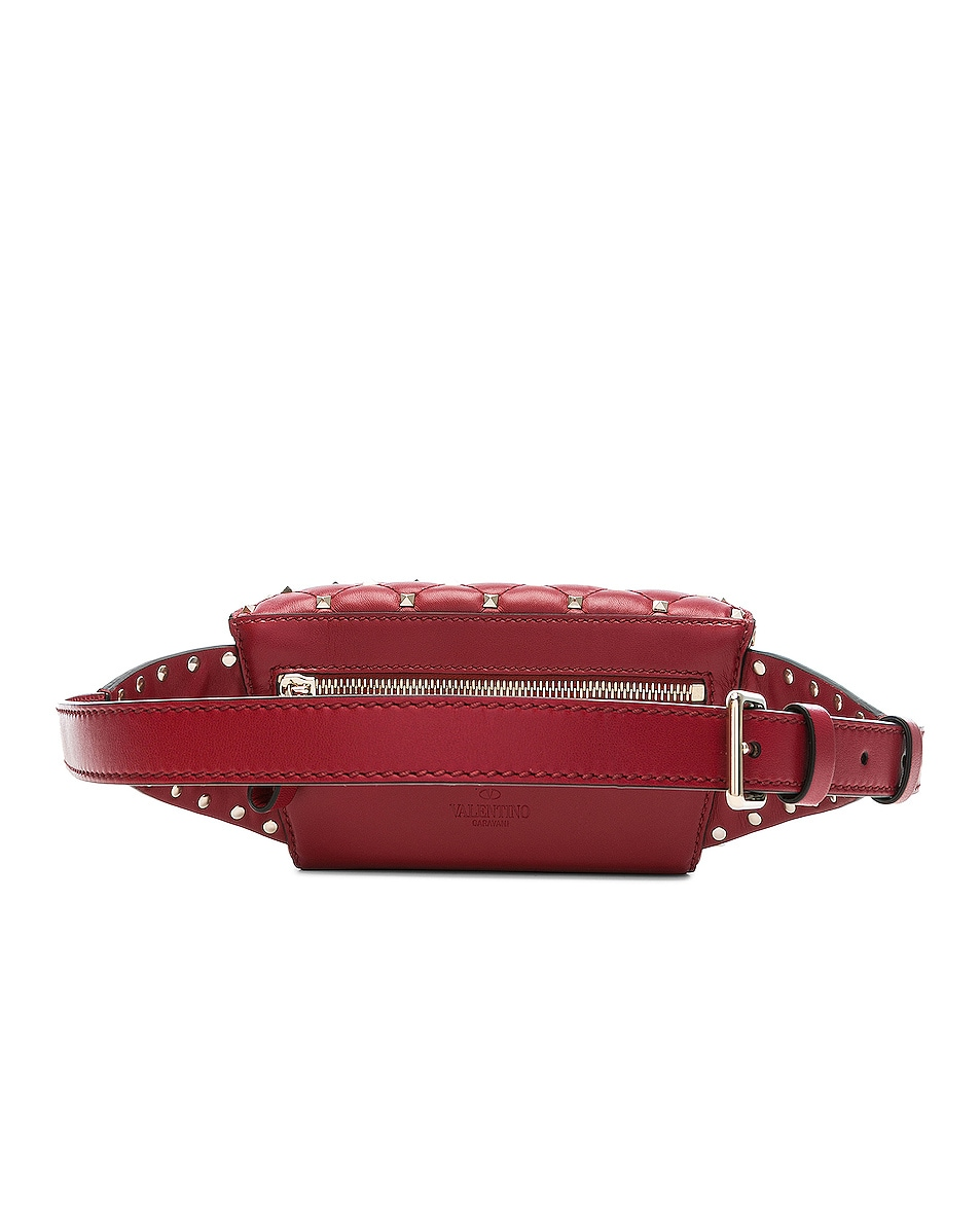 Image 3 of Valentino Small Quilted Rockstud Spike Belt Bag in Red