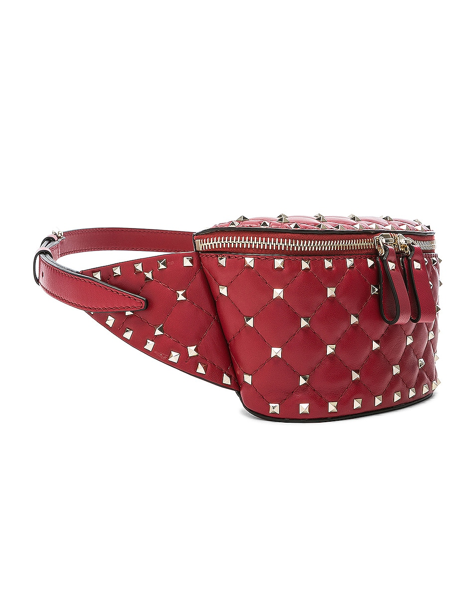 Image 4 of Valentino Small Quilted Rockstud Spike Belt Bag in Red