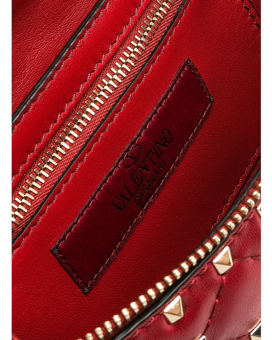 Image 6 of Valentino Small Quilted Rockstud Spike Belt Bag in Red