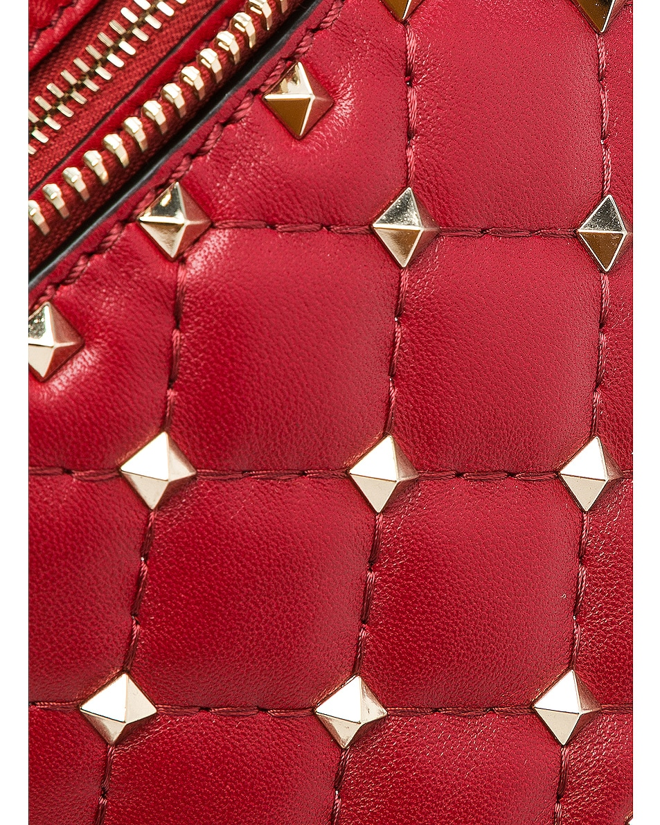 Image 7 of Valentino Small Quilted Rockstud Spike Belt Bag in Red
