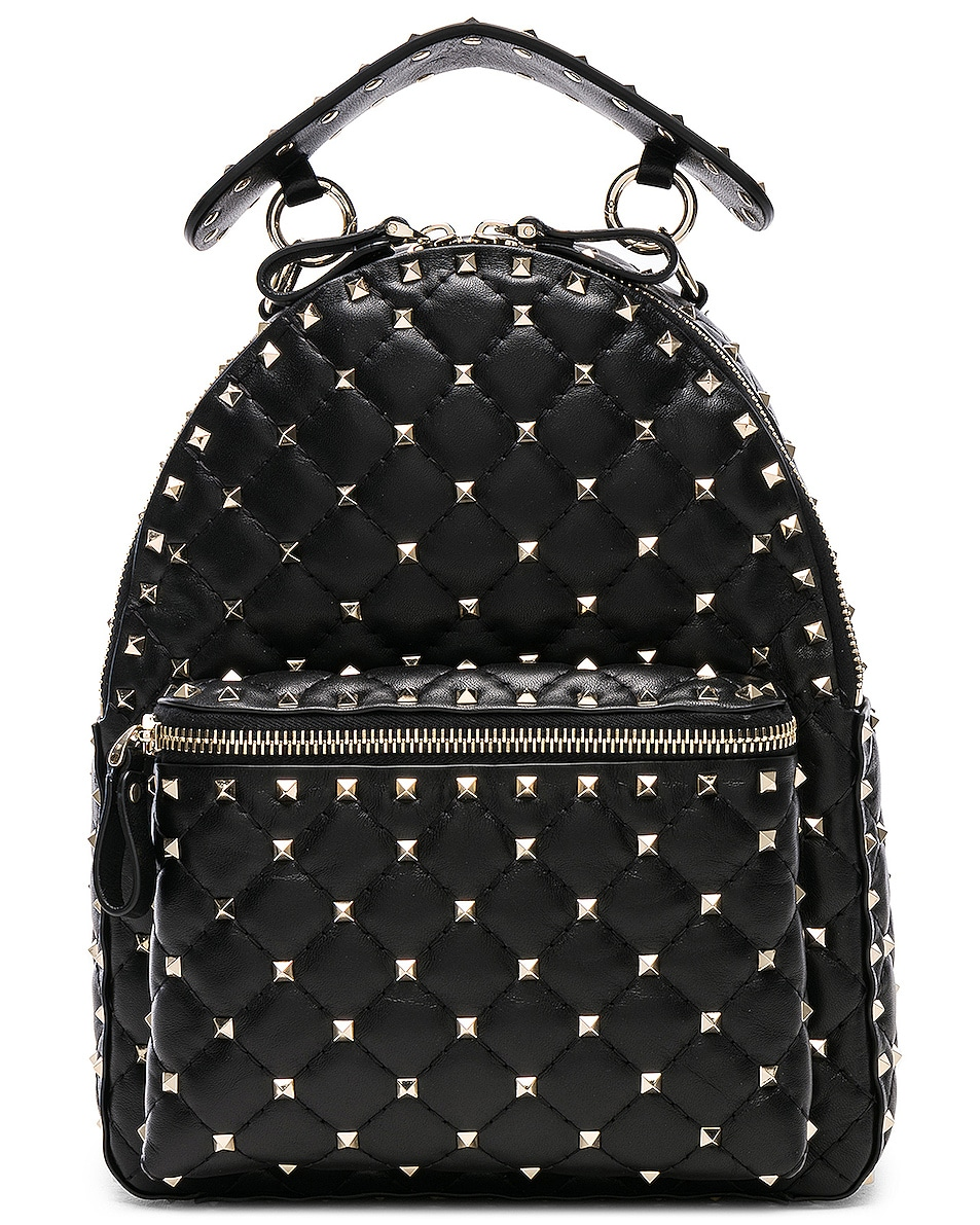 Image 1 of Valentino Small Rockstud Spike Backpack in Black