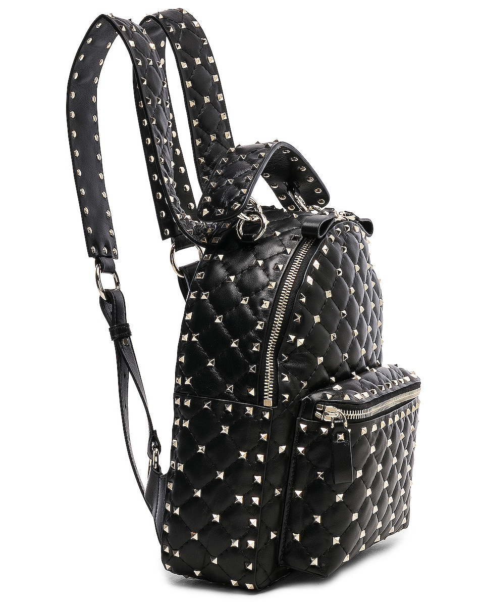 Image 4 of Valentino Small Rockstud Spike Backpack in Black