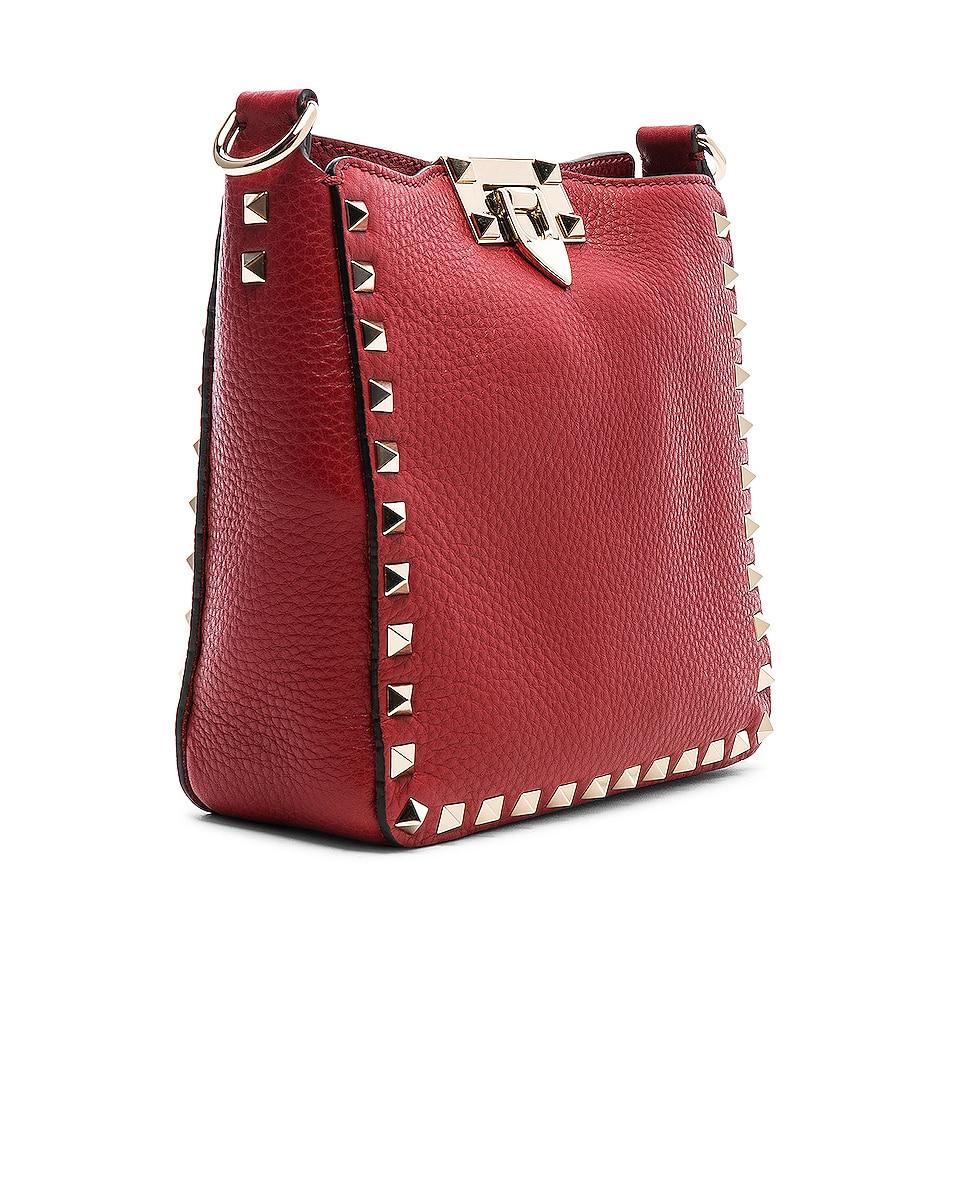 Image 4 of Valentino Mini Rockstud Hobo in Red