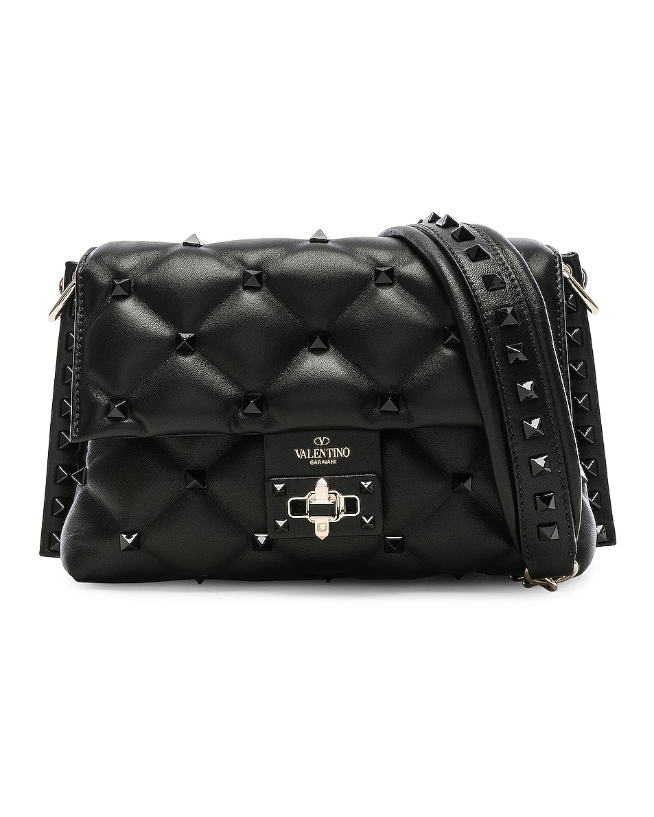 Image 1 of Valentino Medium Candystud Shoulder Bag in Black