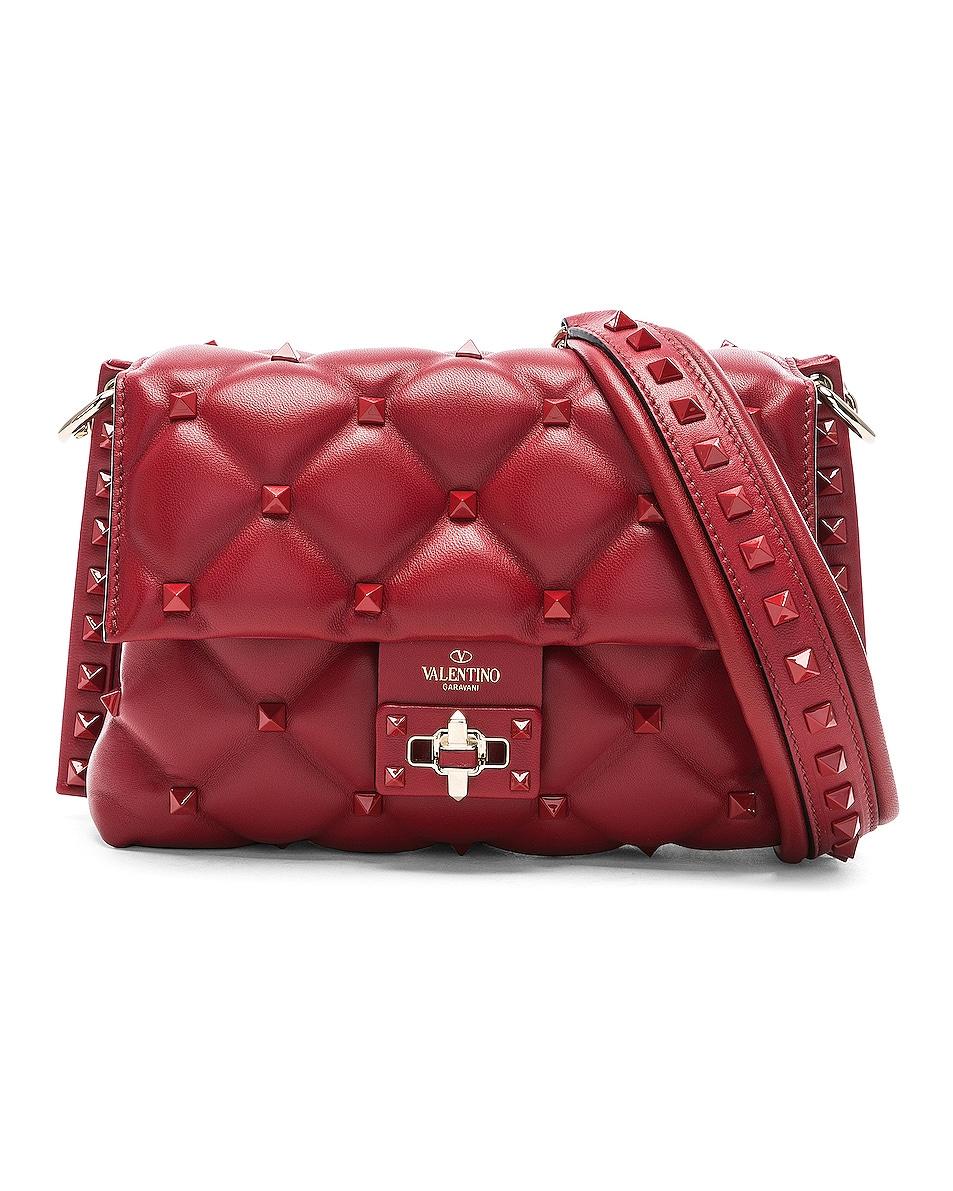Image 1 of Valentino Medium Candystud Shoulder Bag in Red
