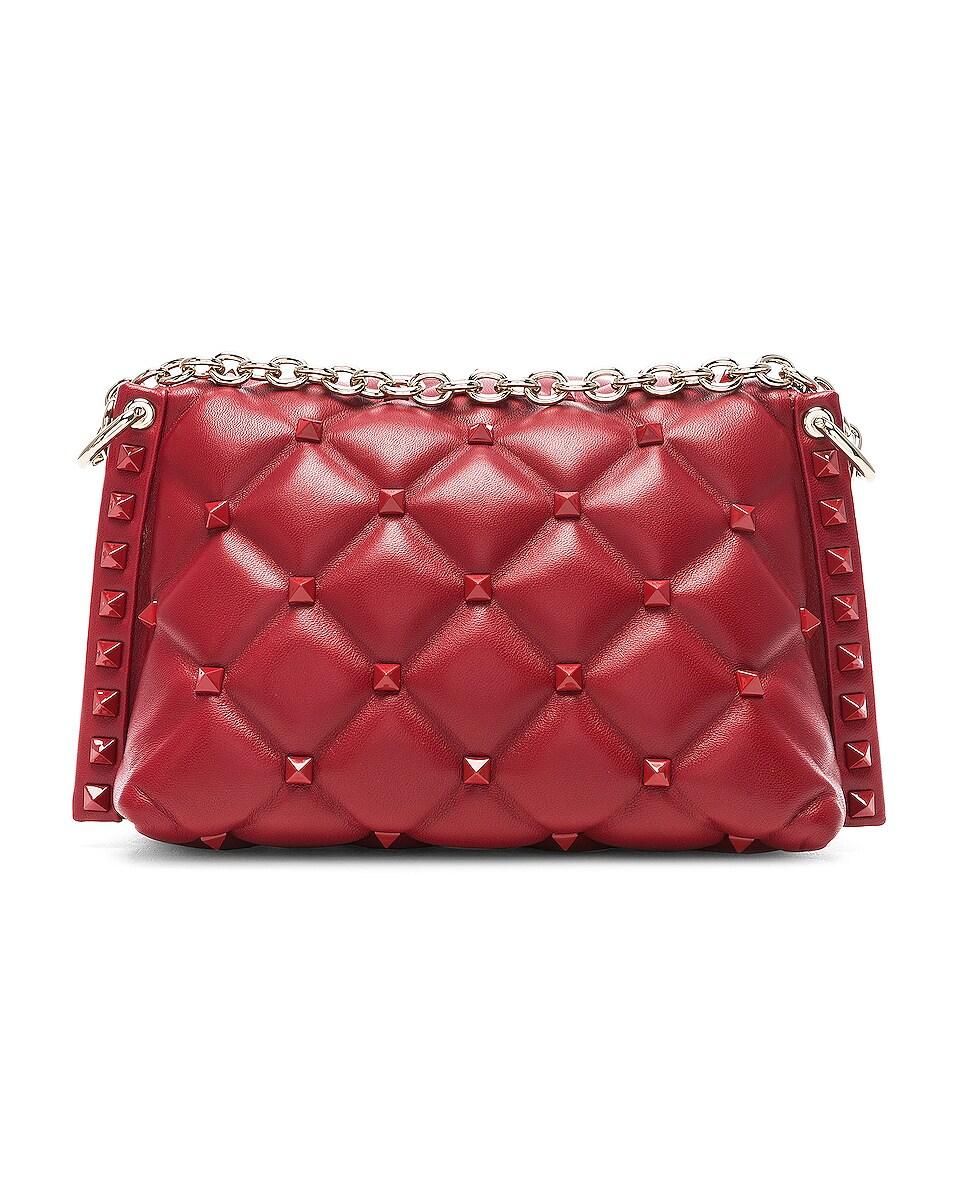 Image 3 of Valentino Medium Candystud Shoulder Bag in Red
