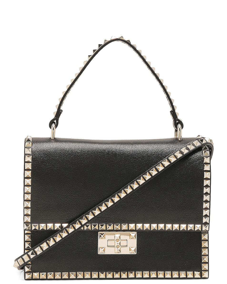 Image 1 of Valentino Rockstud No Limit Top Handle Bag in Black