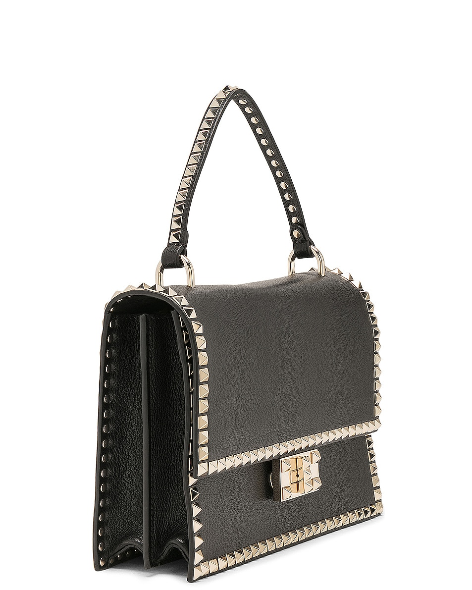 Image 3 of Valentino Rockstud No Limit Top Handle Bag in Black