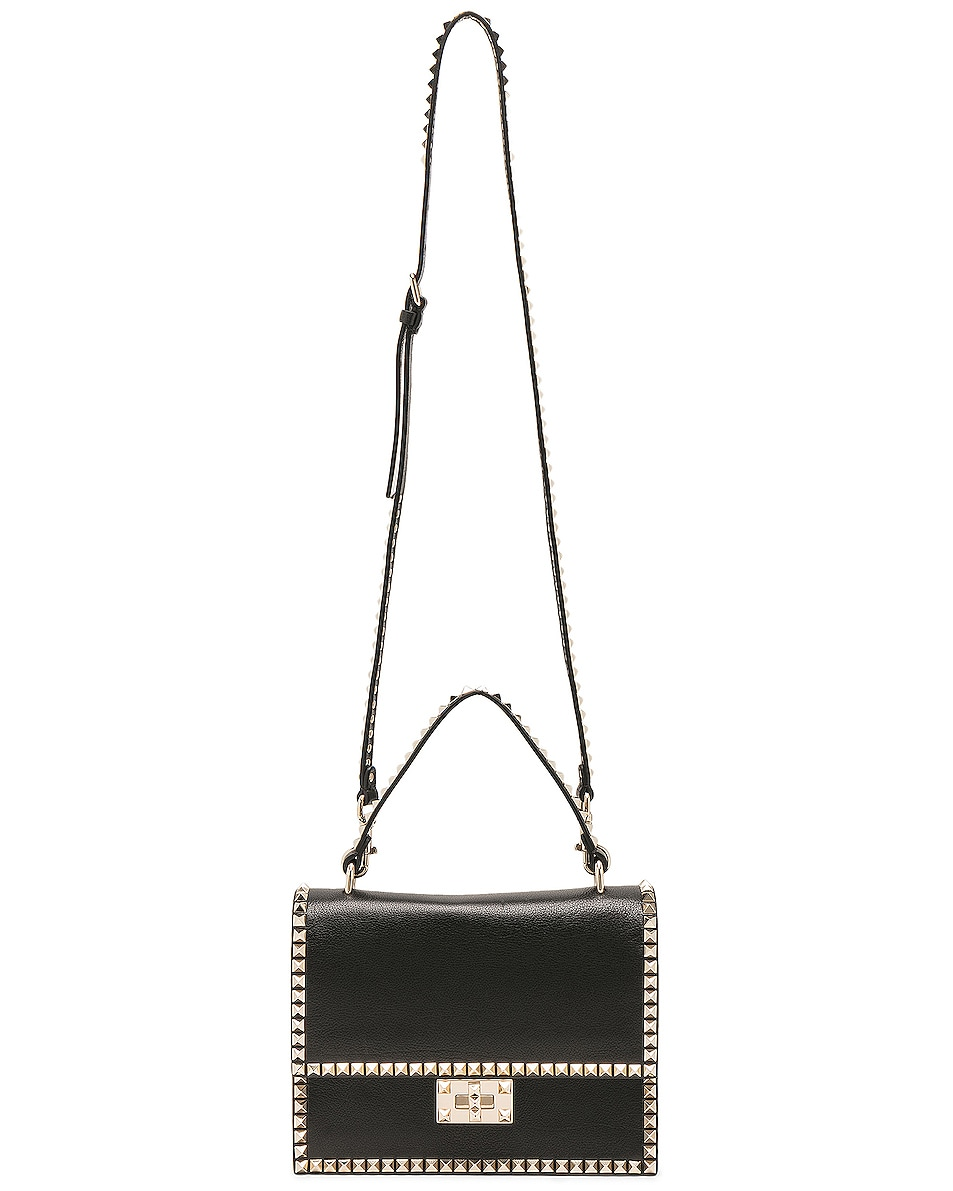 Image 5 of Valentino Rockstud No Limit Top Handle Bag in Black