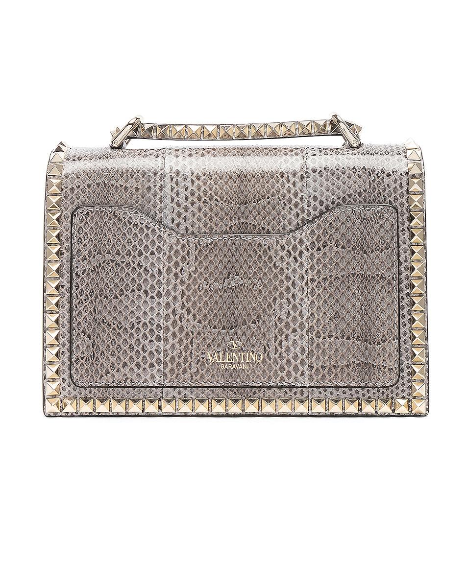 Image 2 of Valentino Small Snakeskin Rockstud No Limit Shoulder Bag in Silver Blue
