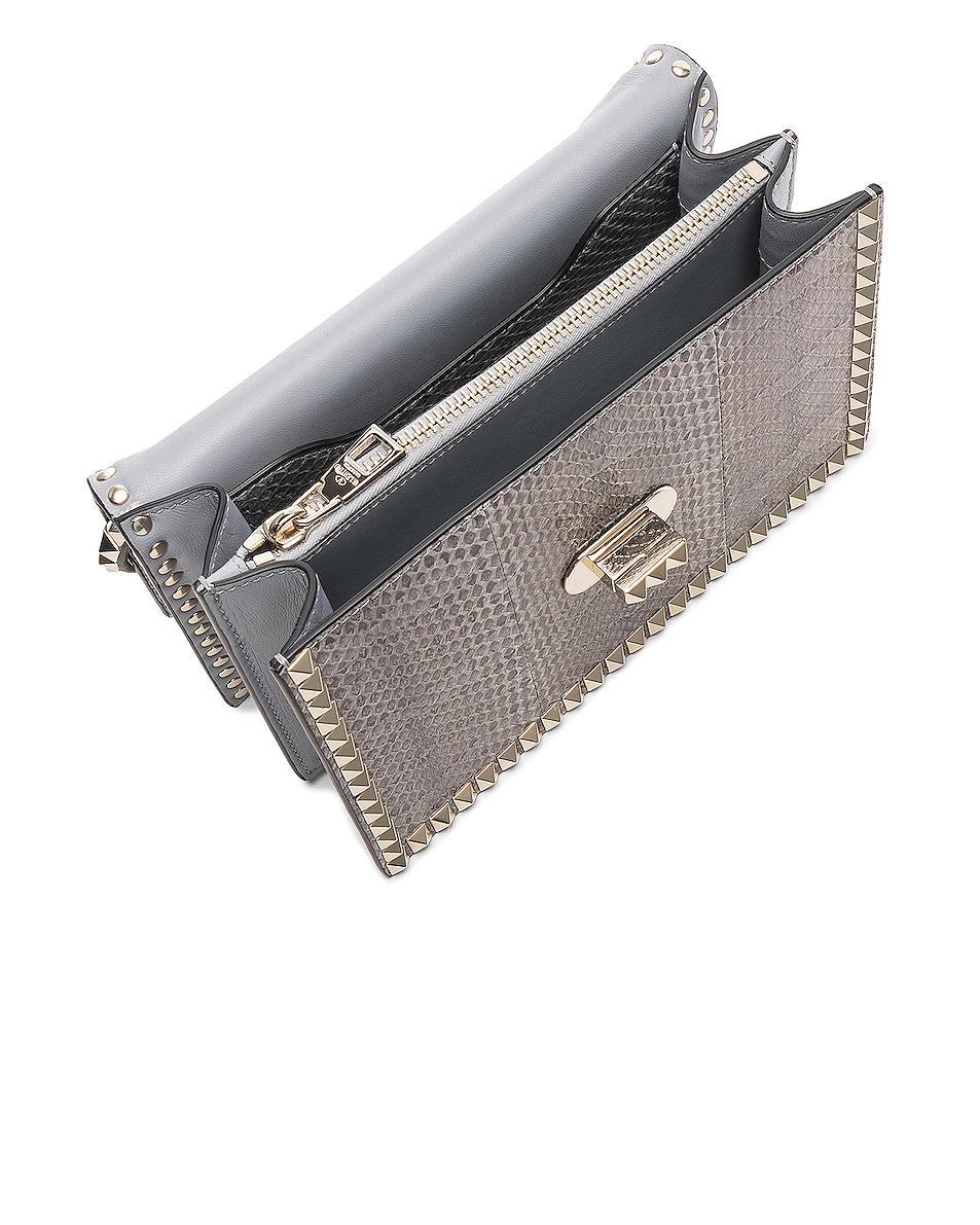 Image 4 of Valentino Small Snakeskin Rockstud No Limit Shoulder Bag in Silver Blue