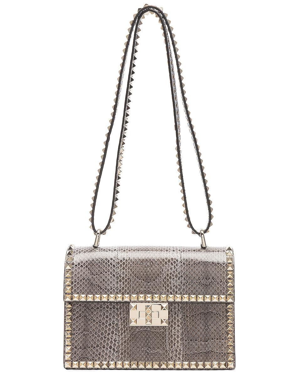 Image 5 of Valentino Small Snakeskin Rockstud No Limit Shoulder Bag in Silver Blue