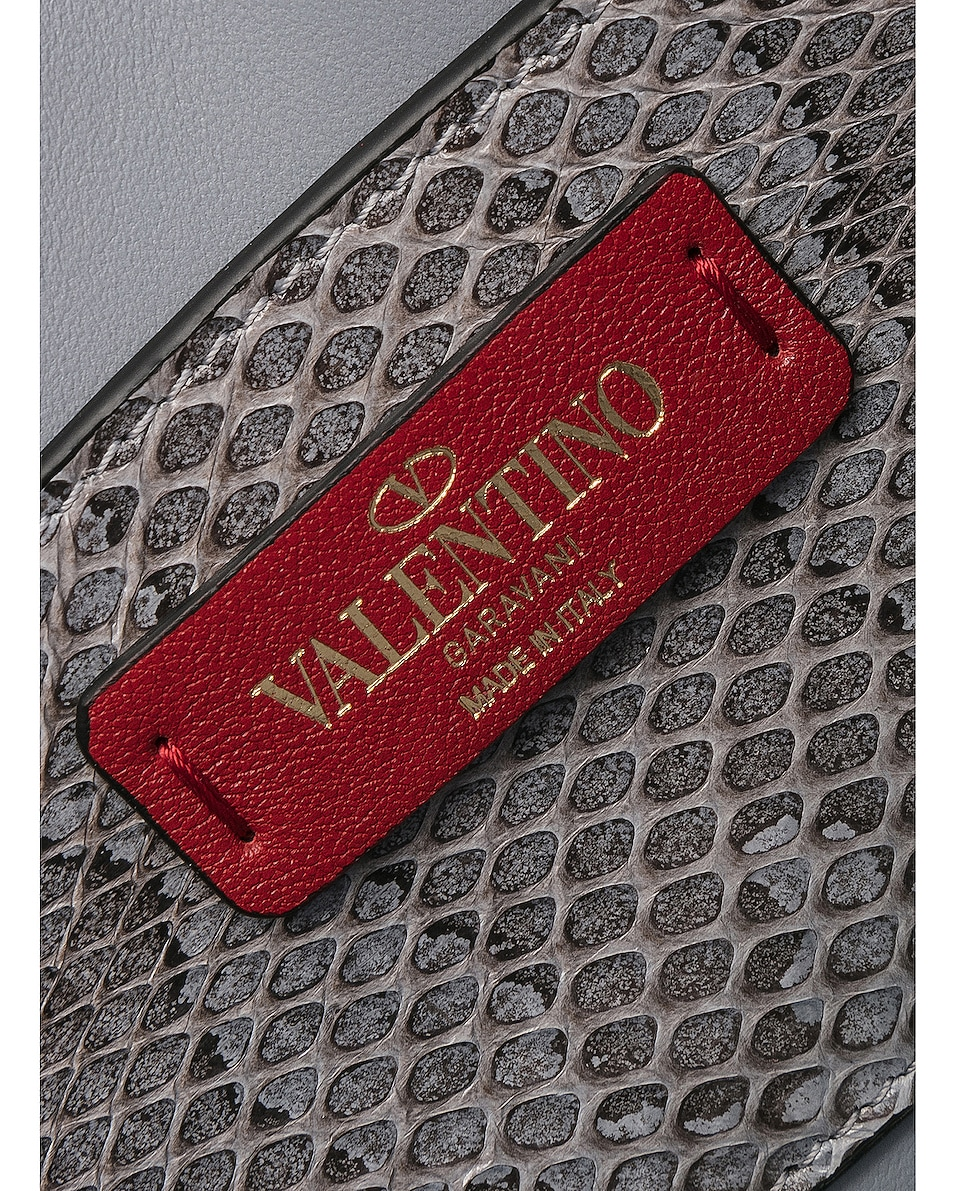 Image 6 of Valentino Small Snakeskin Rockstud No Limit Shoulder Bag in Silver Blue