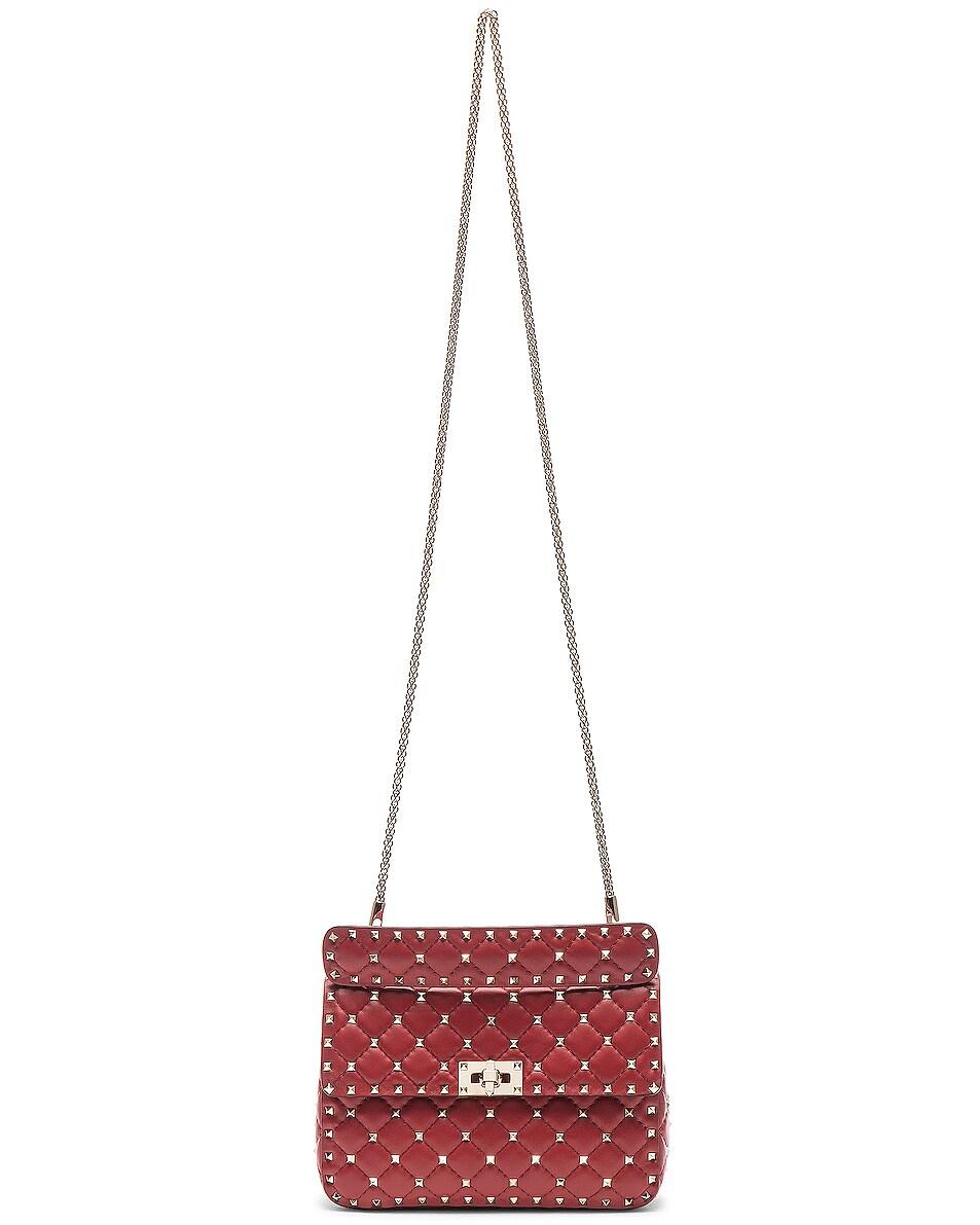 Image 6 of Valentino Rockstud Spike Medium Shoulder Bag in Red