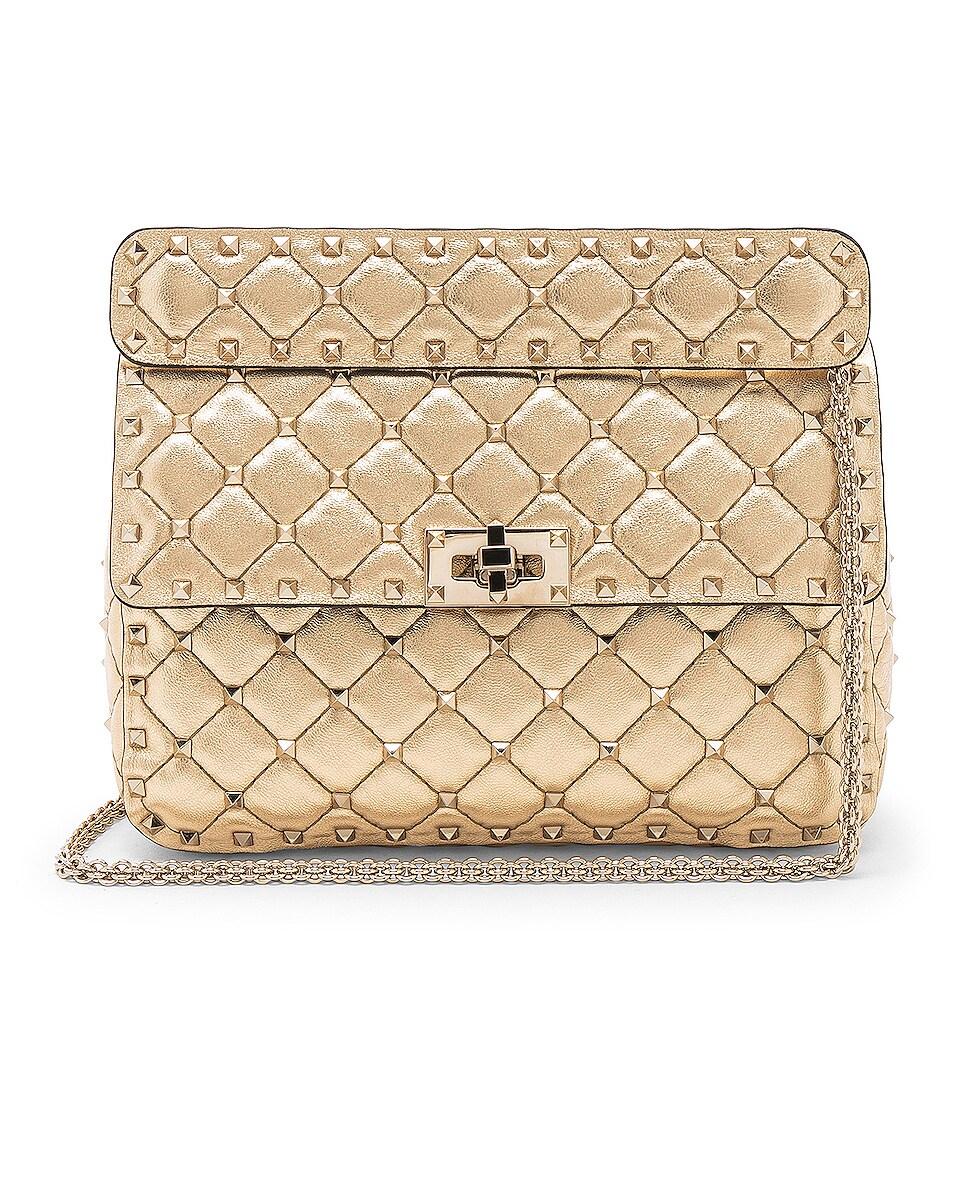 Image 1 of Valentino Rockstud Spike Medium Shoulder Bag in Gold & Platinum
