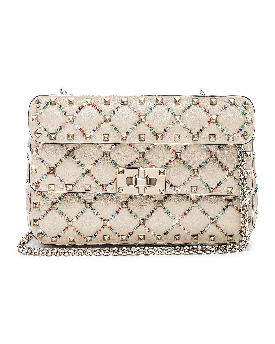 Image 1 of Valentino Spike It Small Shoulder Bag in Light Ivory