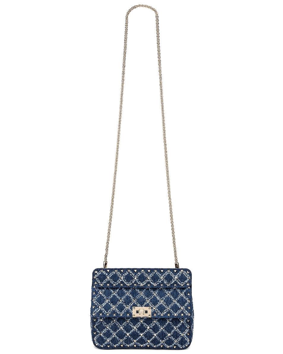 Image 6 of Valentino Rockstud Spike Medium Shoulder Bag in Denim
