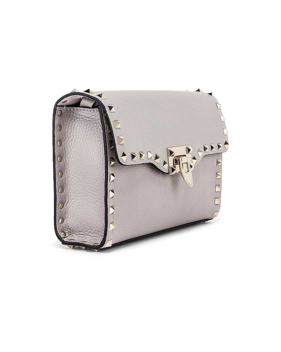 Image 4 of Valentino Rockstud Small Shoulder Bag in Pastel Grey