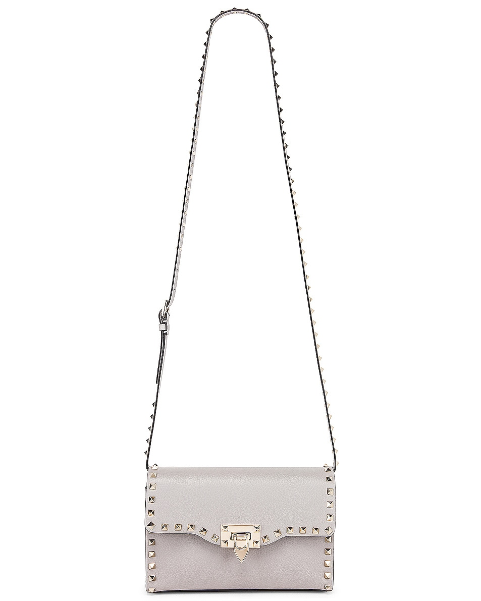 Image 6 of Valentino Rockstud Small Shoulder Bag in Pastel Grey