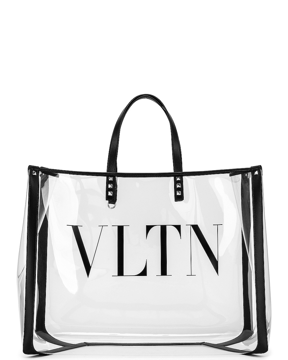 Image 1 of Valentino VLTN Grande Plage Tote in Transparent & Nero