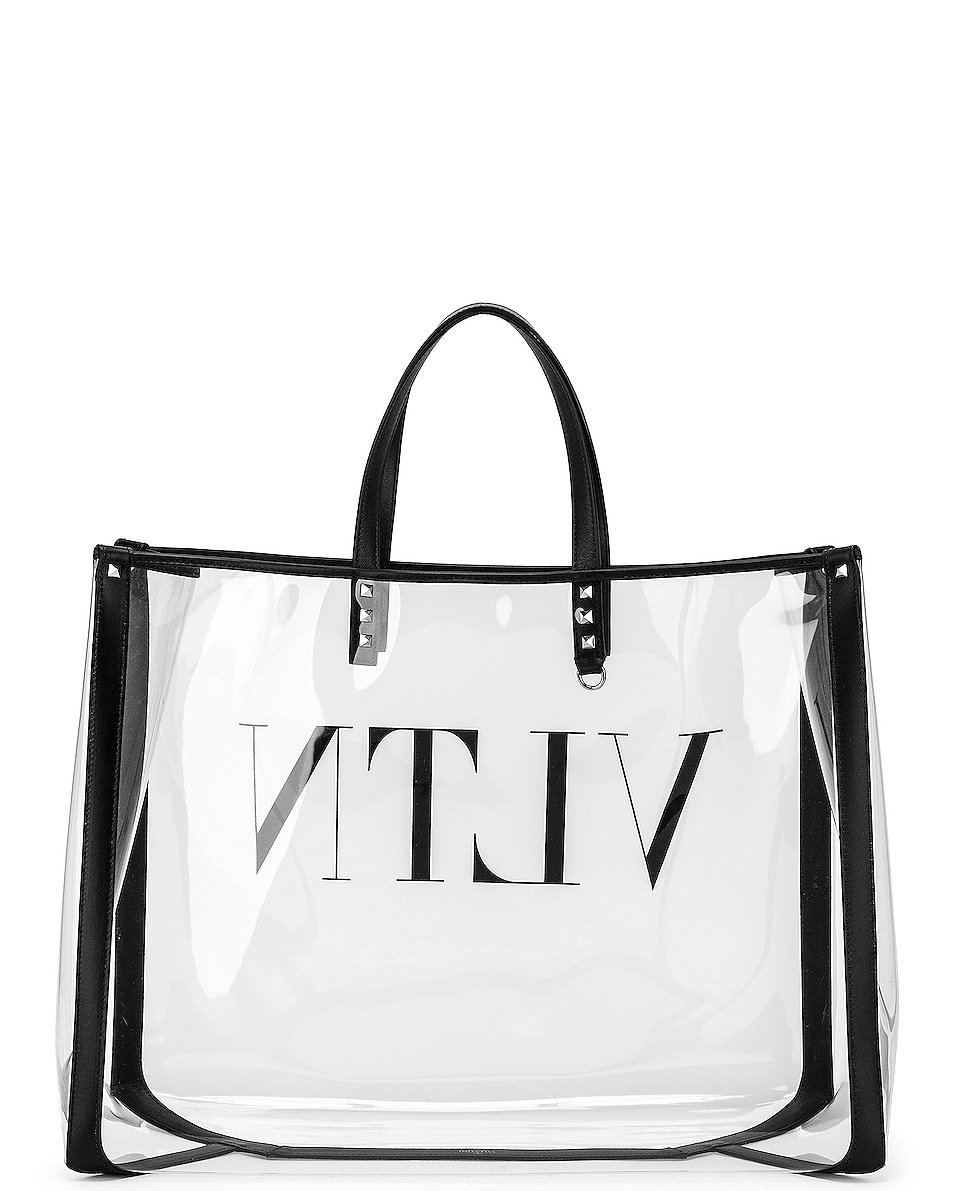 Image 3 of Valentino VLTN Grande Plage Tote in Transparent & Nero