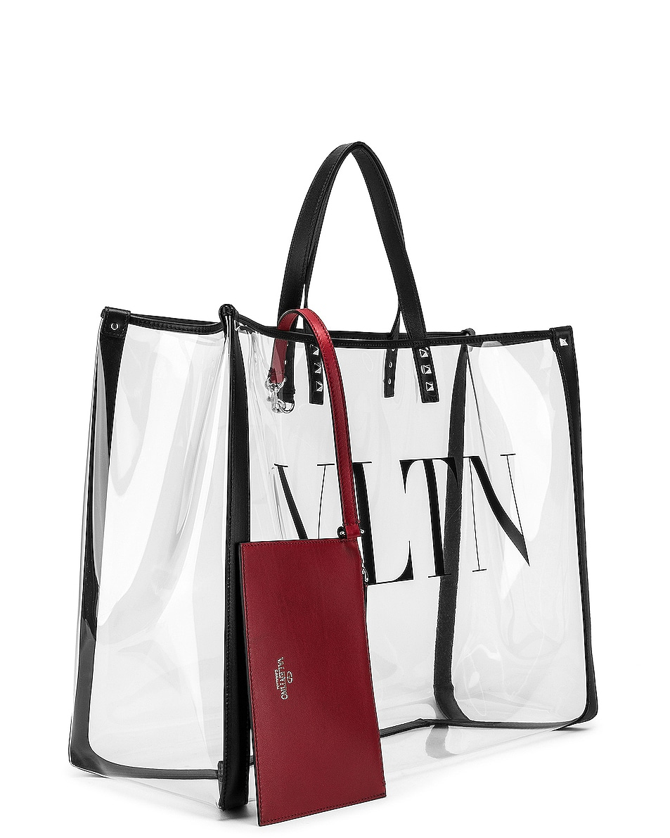 Image 4 of Valentino VLTN Grande Plage Tote in Transparent & Nero