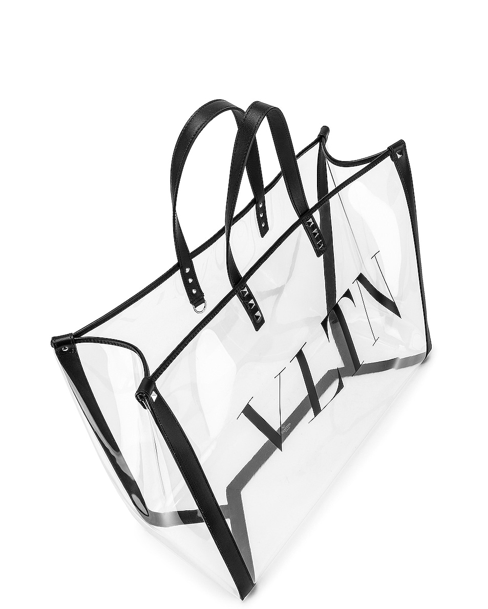 Image 5 of Valentino VLTN Grande Plage Tote in Transparent & Nero