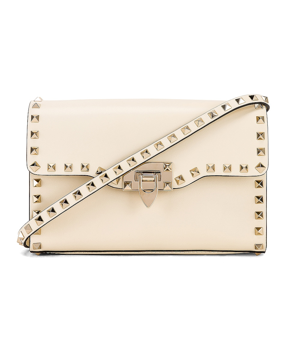 Image 1 of Valentino Rockstud Small Shoulder Bag in Light Ivory