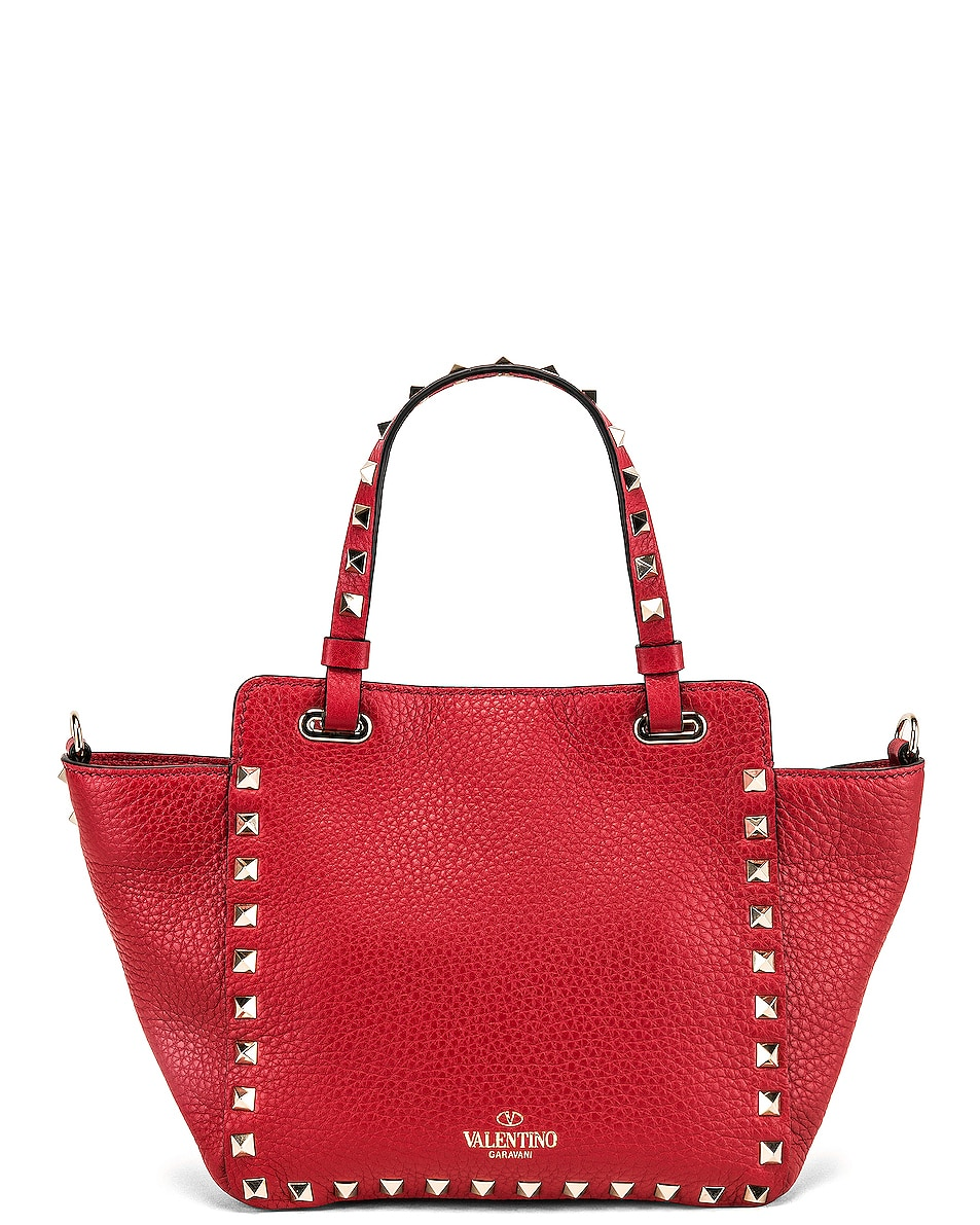 Image 3 of Valentino Rockstud Mini Tote in Red