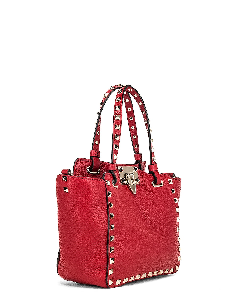 Image 4 of Valentino Rockstud Mini Tote in Red