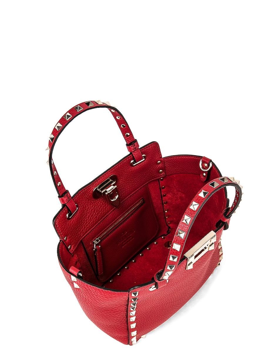 Image 5 of Valentino Rockstud Mini Tote in Red