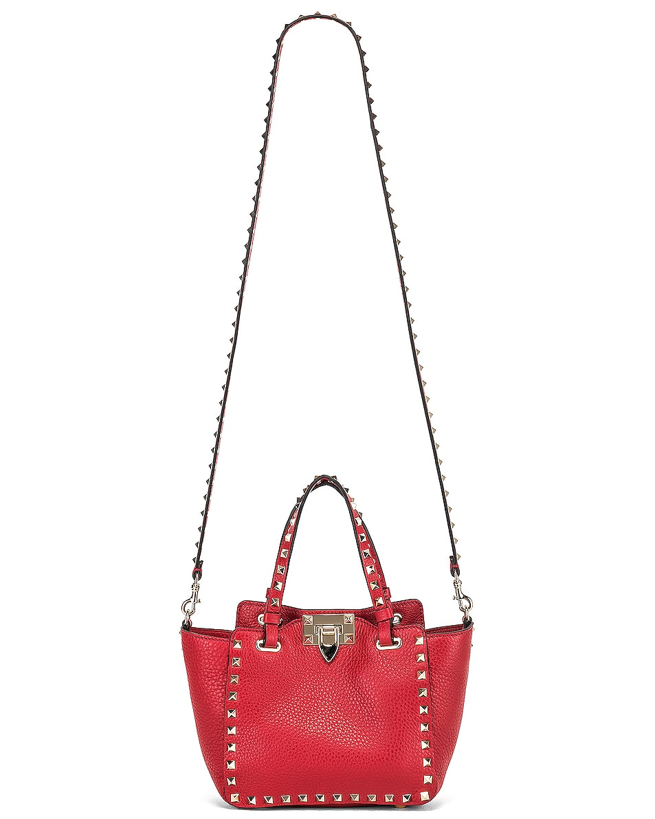 Image 6 of Valentino Rockstud Mini Tote in Red