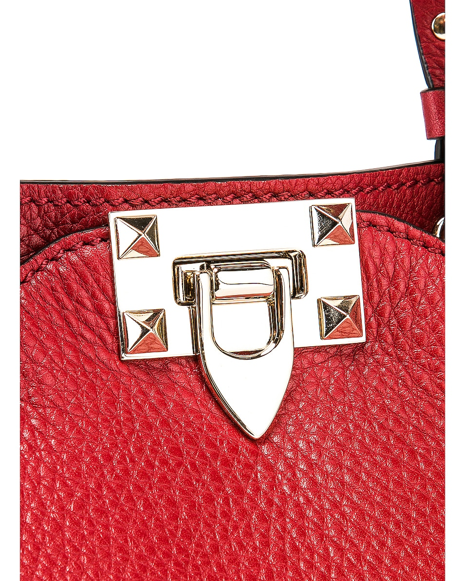Image 8 of Valentino Rockstud Mini Tote in Red
