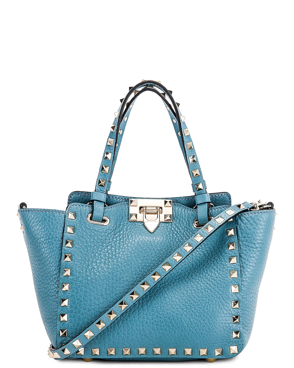 Image 1 of Valentino Rockstud Mini Tote in Atlantique