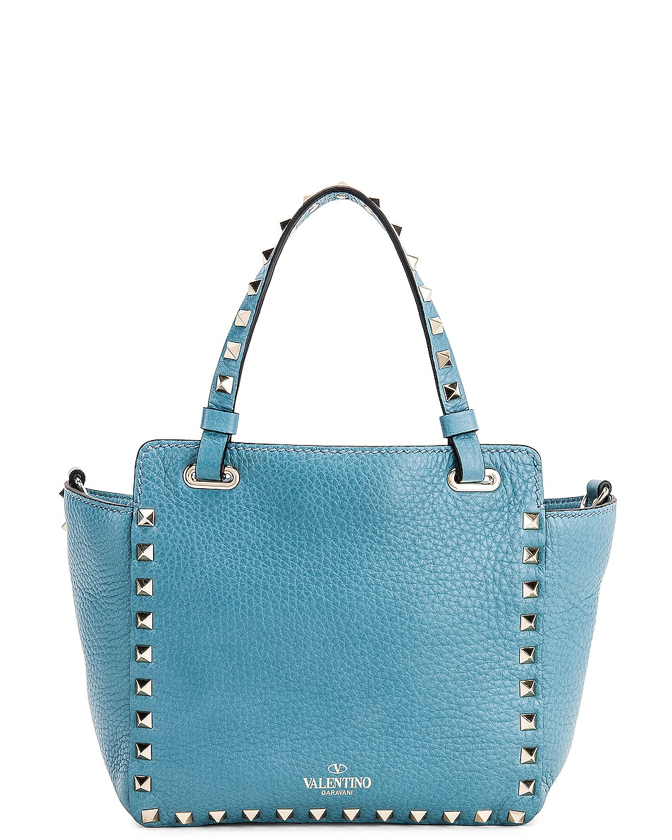 Image 3 of Valentino Rockstud Mini Tote in Atlantique