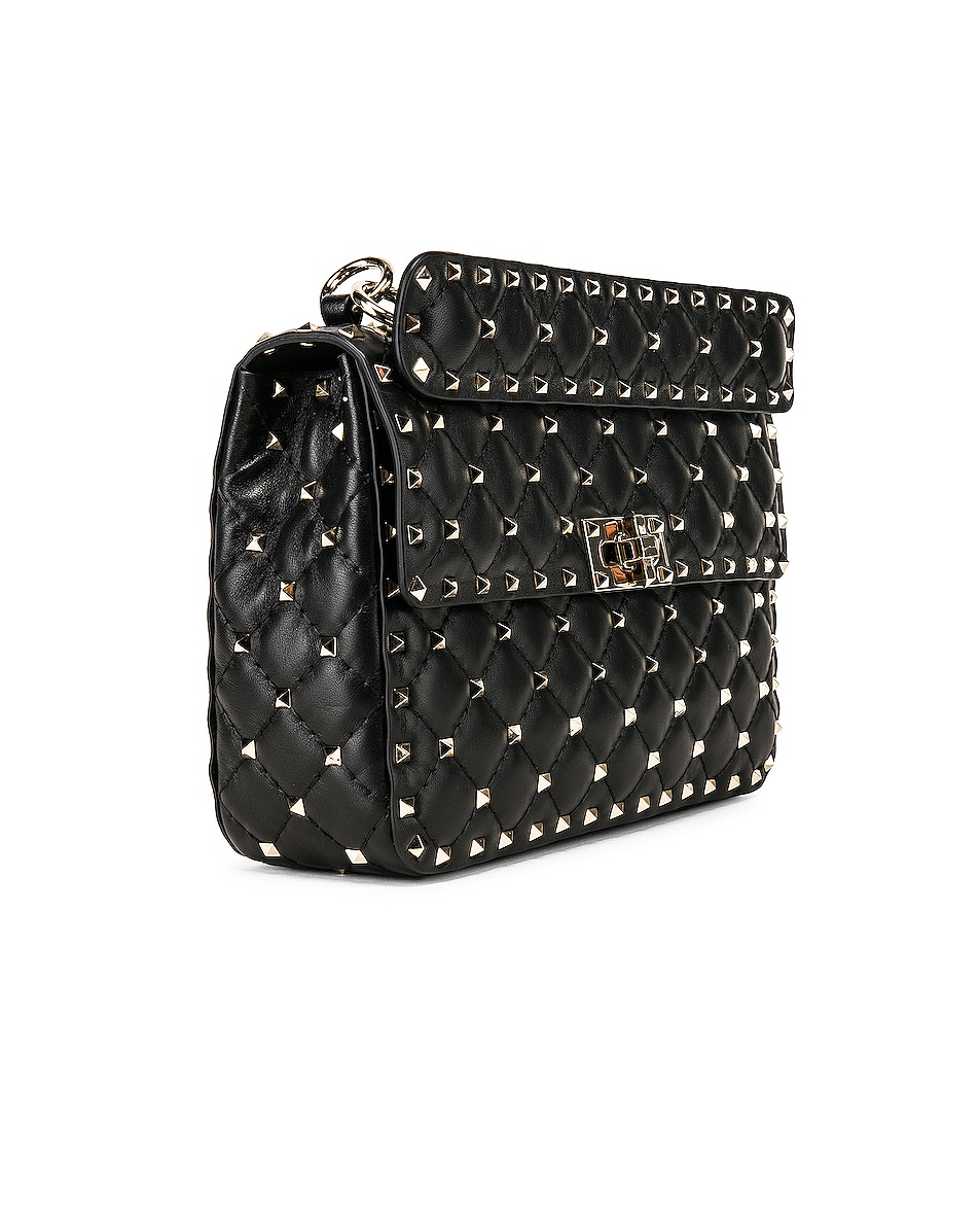 Image 4 of Valentino Medium Rockstud Spike Shoulder Bag in Nero