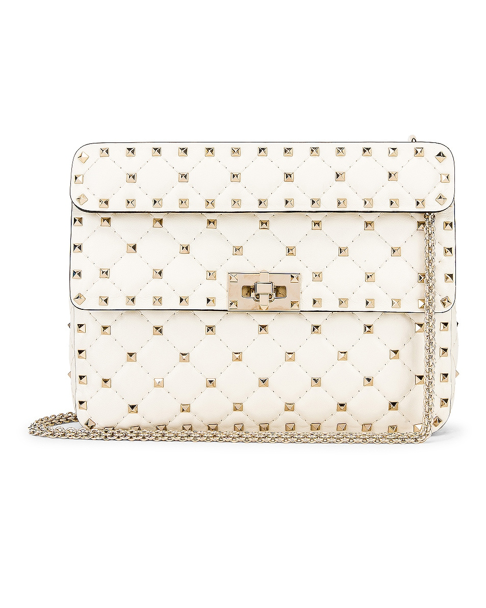 Image 1 of Valentino Medium Rockstud Spike Shoulder Bag in Light Ivory