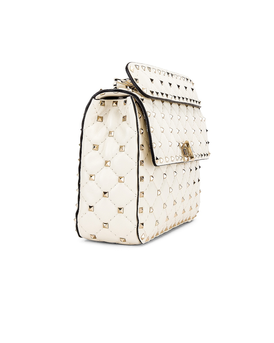 Image 4 of Valentino Medium Rockstud Spike Shoulder Bag in Light Ivory