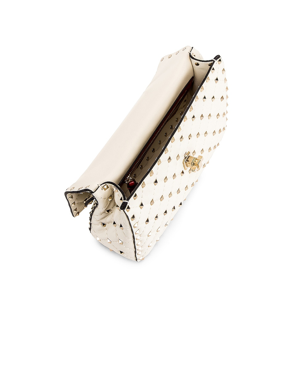 Image 5 of Valentino Medium Rockstud Spike Shoulder Bag in Light Ivory