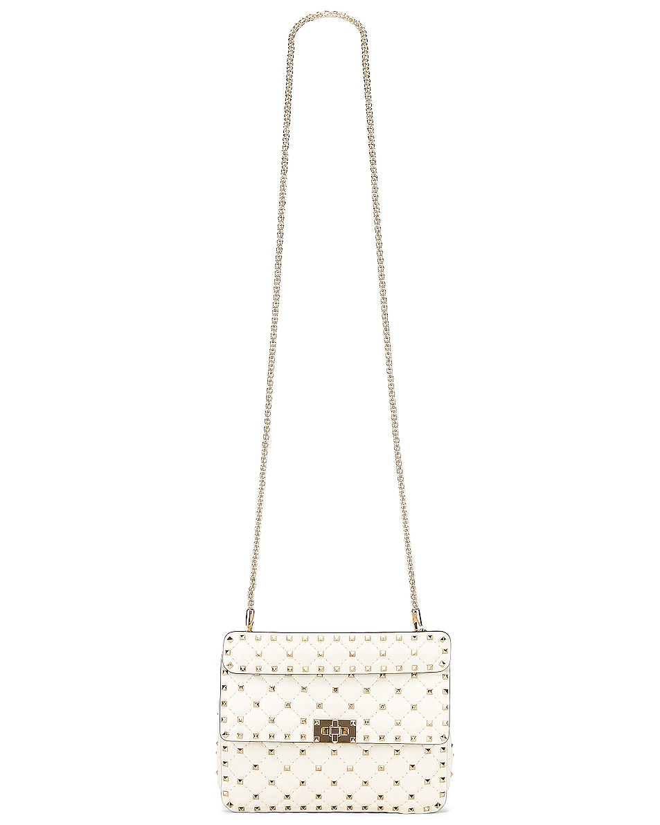 Image 6 of Valentino Medium Rockstud Spike Shoulder Bag in Light Ivory