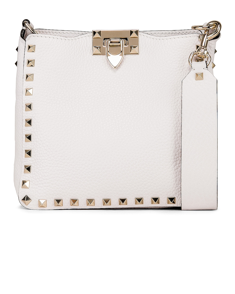 Image 1 of Valentino Rockstud Mini Hobo Bag in Bianco Ottico