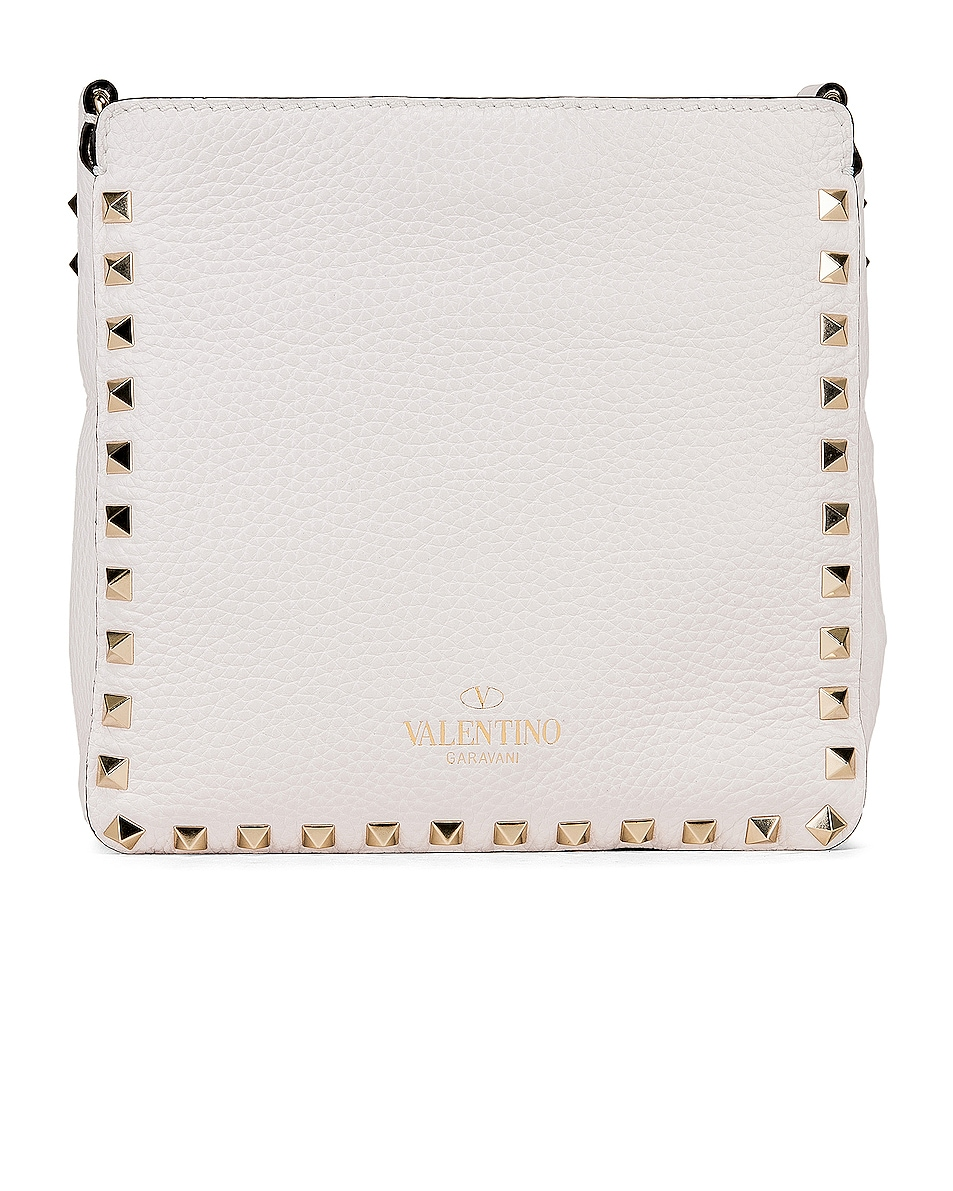 Image 3 of Valentino Rockstud Mini Hobo Bag in Bianco Ottico