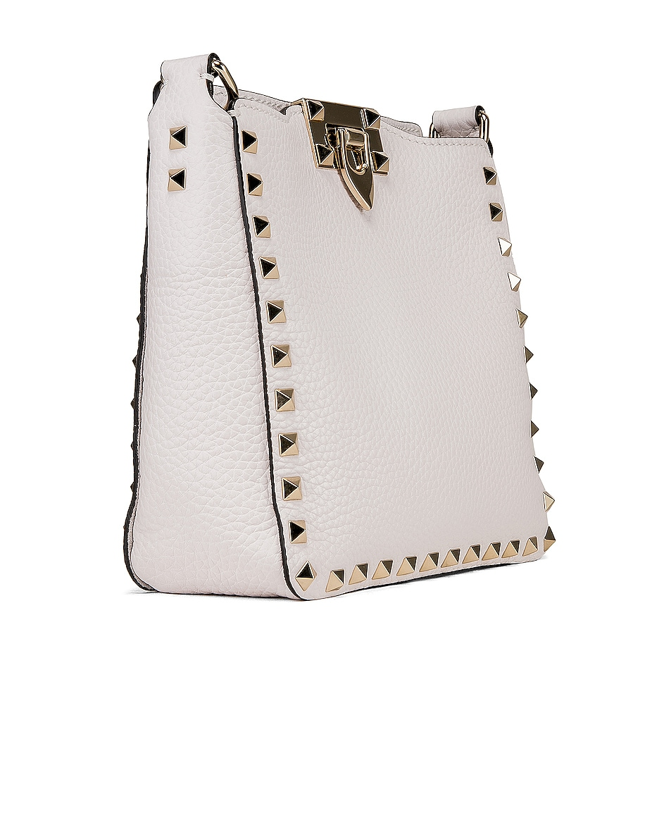 Image 4 of Valentino Rockstud Mini Hobo Bag in Bianco Ottico