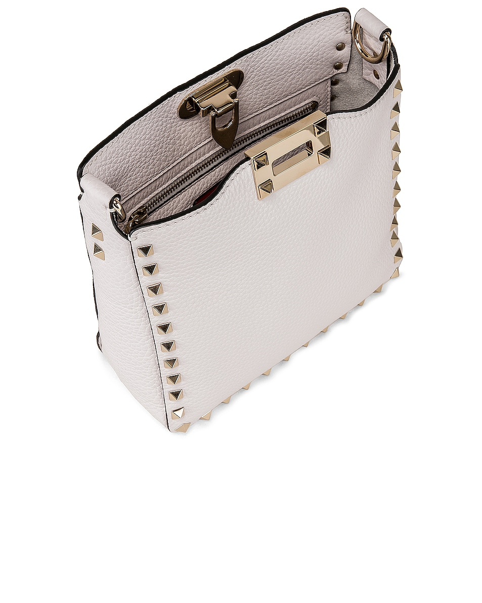 Image 5 of Valentino Rockstud Mini Hobo Bag in Bianco Ottico