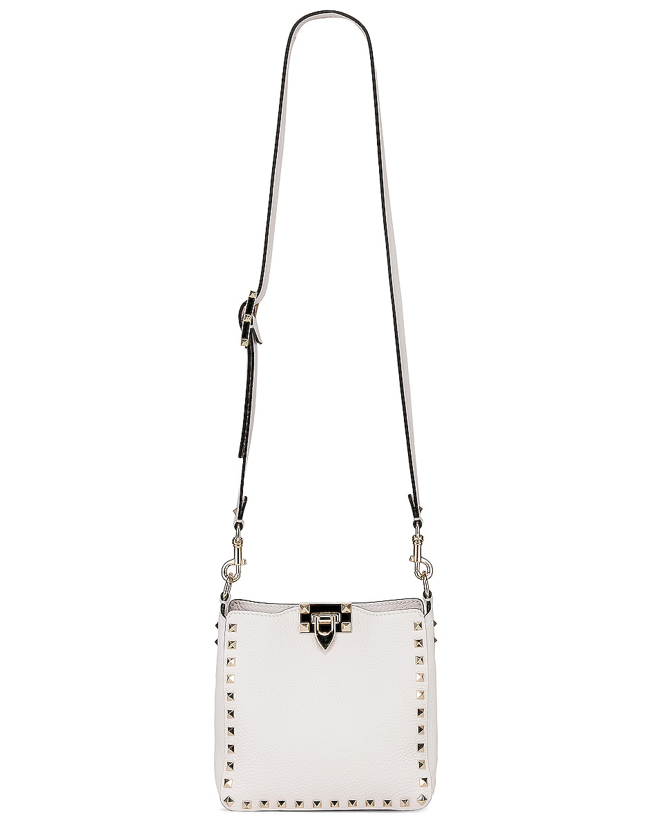 Image 6 of Valentino Rockstud Mini Hobo Bag in Bianco Ottico