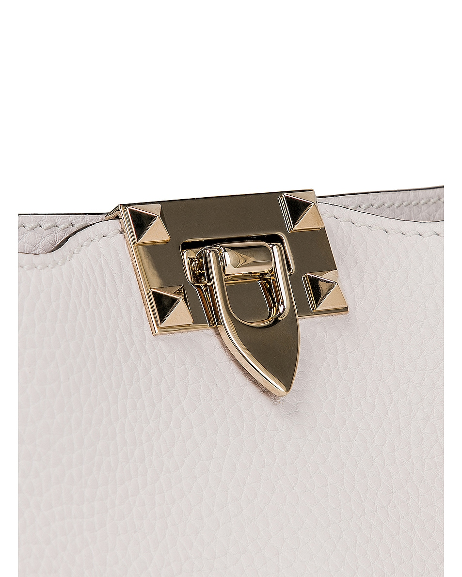 Image 8 of Valentino Rockstud Mini Hobo Bag in Bianco Ottico