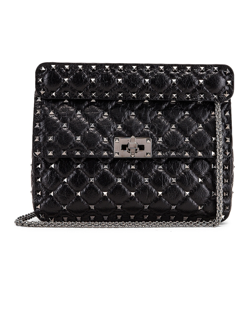 Image 1 of Valentino Rockstud Spike Medium Shoulder Bag in Nero